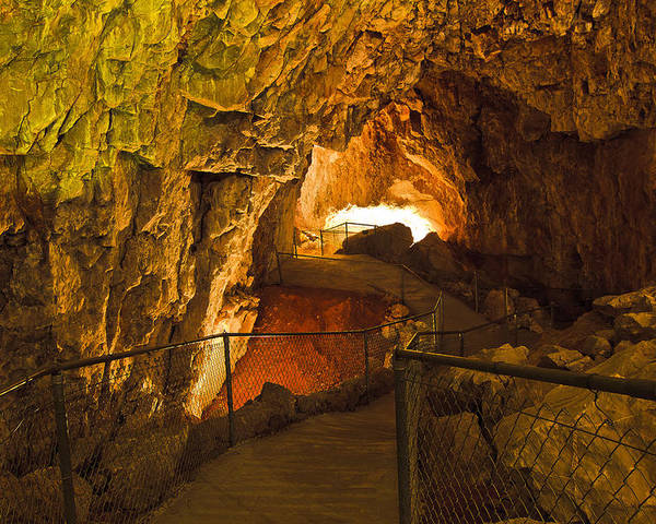 Grand Canyon Caverns Poster featuring the photograph Cavern Aglow by Kenan Sipilovic