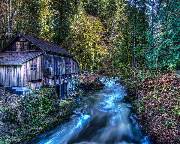 Washington State Poster featuring the photograph Cedar Creek Grist Mill by Puget Exposure