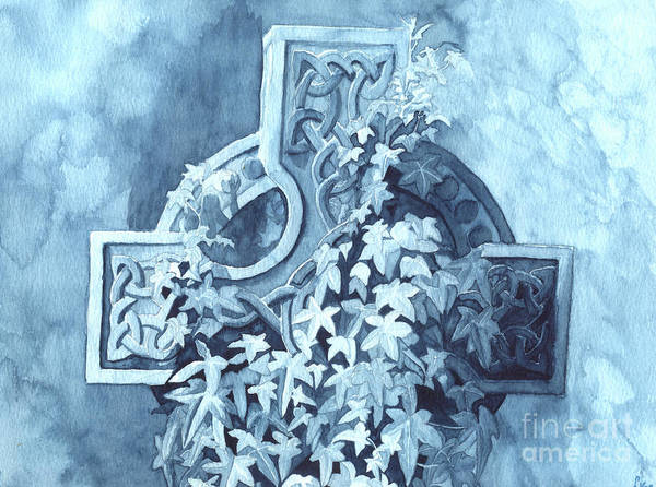 Celtic Cross Poster featuring the painting Celtic Cross Study by Lynn Quinn
