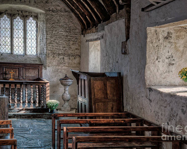 Inside Celynnin Church Poster featuring the photograph Celynnin Church V2 by Adrian Evans