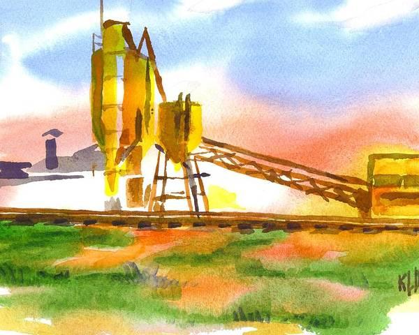 Cement Plant Across The Tracks Poster featuring the painting Cement Plant Across The Tracks by Kip DeVore