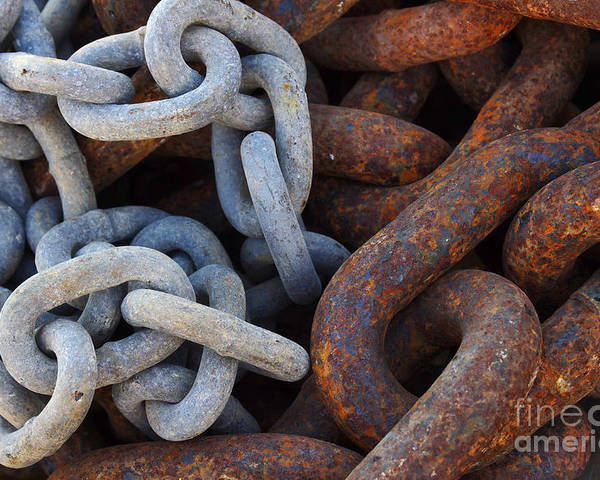 Anchor Poster featuring the photograph Chain Links by Carlos Caetano