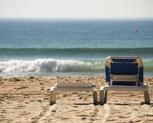 Manly Poster featuring the photograph Chair on beach by Sheila Smart Fine Art Photography