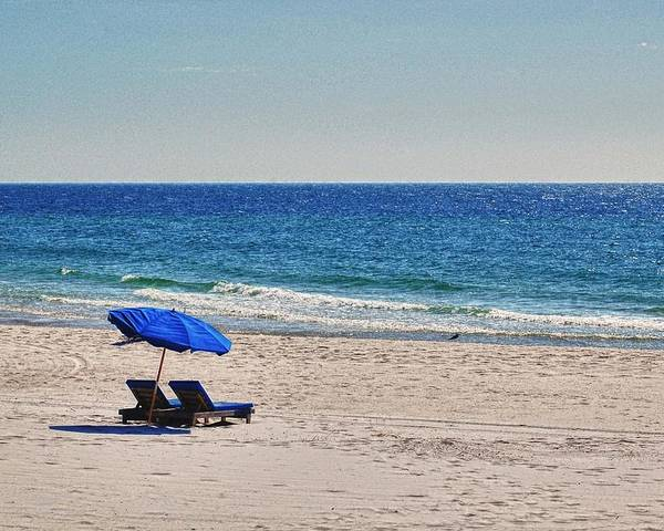 Alabama Poster featuring the digital art Chairs On The Beach With Umbrella by Michael Thomas