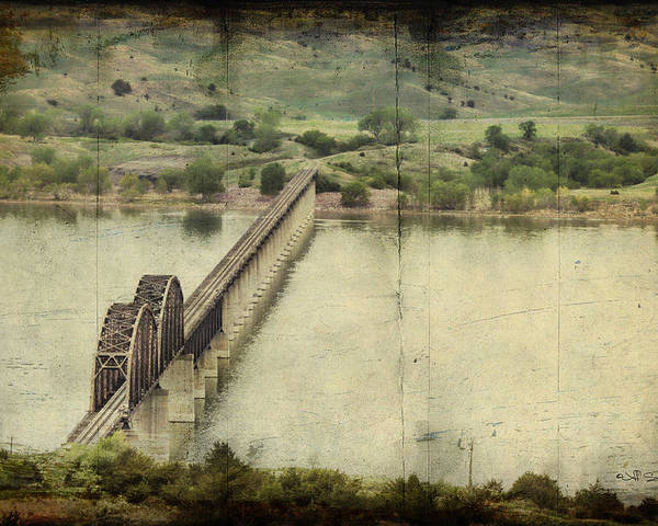 Train Poster featuring the photograph Chamberlain Railroad Bridge Over Missouri River by Jeff Swanson