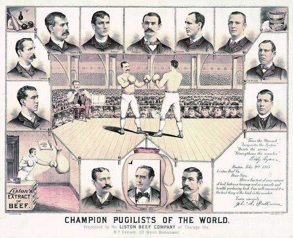 Champion Pugilists 1885 Poster featuring the photograph Champion Pugilists 1885 by Padre Art