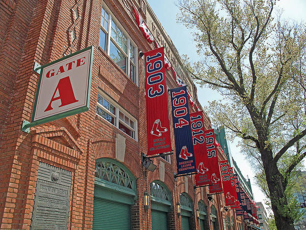 Red Sox Poster featuring the photograph Championship Banners by Barbara McDevitt