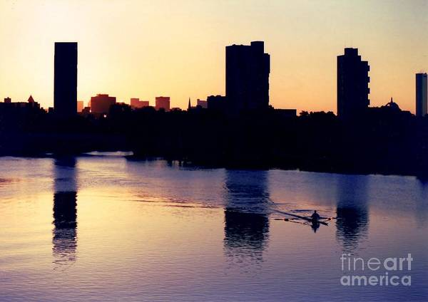 Row Poster featuring the photograph Charles River Rower At Dawn by Kenny Glotfelty