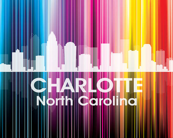 City Silhouette Poster featuring the mixed media Charlotte Nc 2 by Angelina Vick