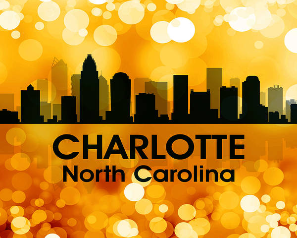 City Silhouette Poster featuring the digital art Charlotte Nc 3 by Angelina Vick