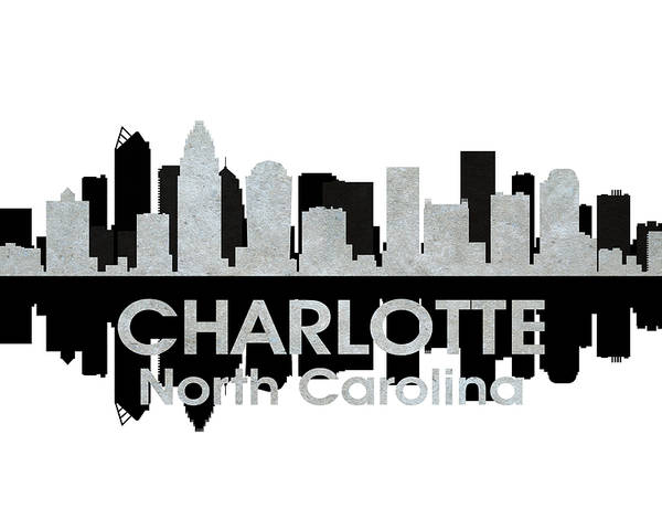 City Silhouette Poster featuring the mixed media Charlotte Nc 4 by Angelina Vick
