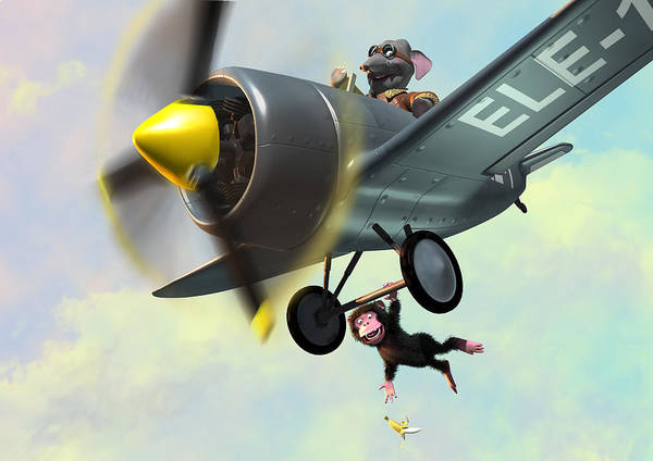 Plane Poster featuring the painting Cheeky Monkey Hanging From Plane by Martin Davey