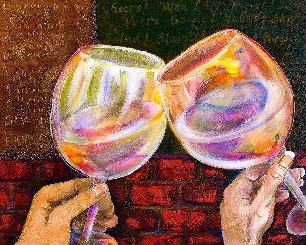 Wine Poster featuring the painting Cheers by Debi Starr