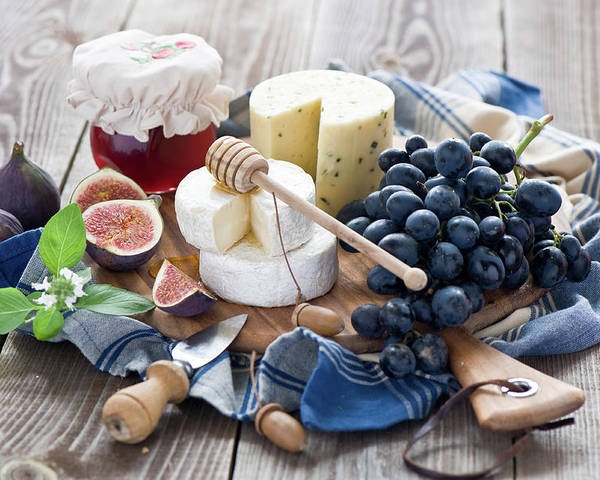 Plum Poster featuring the photograph Cheese Board by Verdina Anna