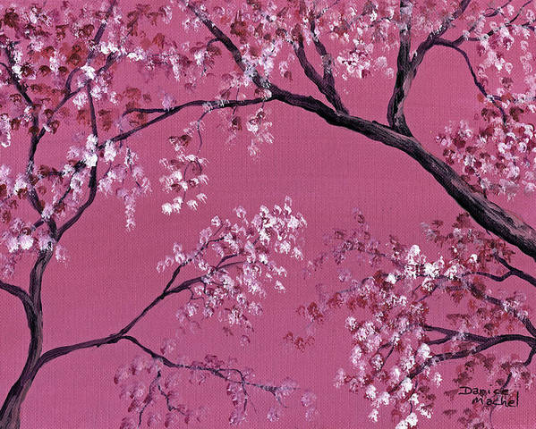 Landscape Poster featuring the painting Cherry Blossoms by Darice Machel McGuire