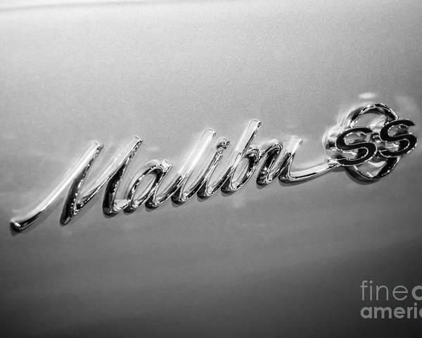 1960's Poster featuring the photograph Chevrolet Malibu Ss Emblem Black And White Picture by Paul Velgos