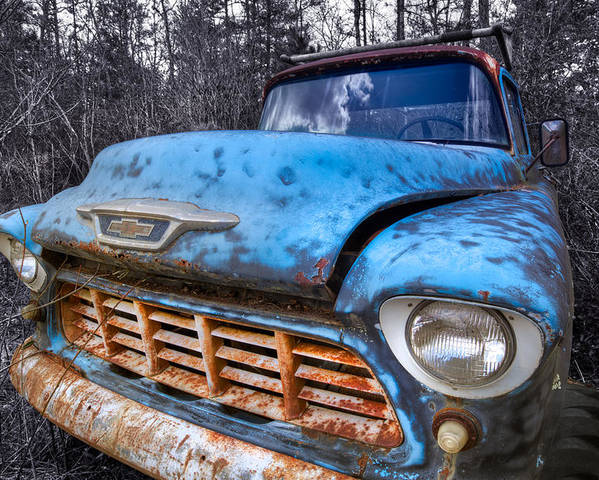 Appalachia Poster featuring the photograph Chevy In The Woods by Debra and Dave Vanderlaan