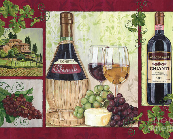 Wine Poster featuring the painting Chianti And Friends 2 by Debbie DeWitt