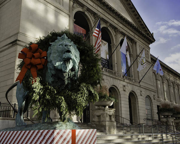 Art Poster featuring the photograph Chicago Art Institute Guardian by Sebastian Musial