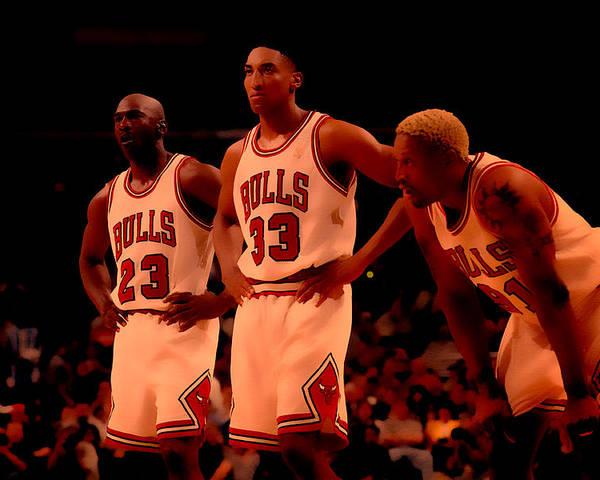 Michael Jordan Poster featuring the digital art Air Jordan And Crew by Brian Reaves