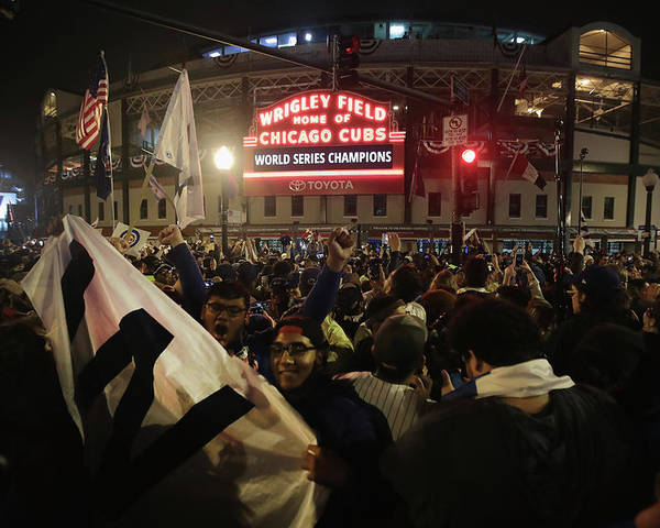 American League Baseball Poster featuring the photograph Chicago Cubs Fans Gather To Watch Game by Scott Olson