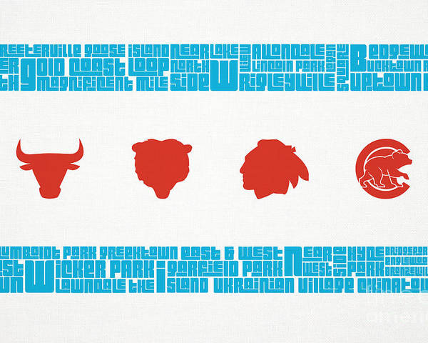 Chicago Poster featuring the mixed media Chicago Flag Sports Teams by Mike Maher