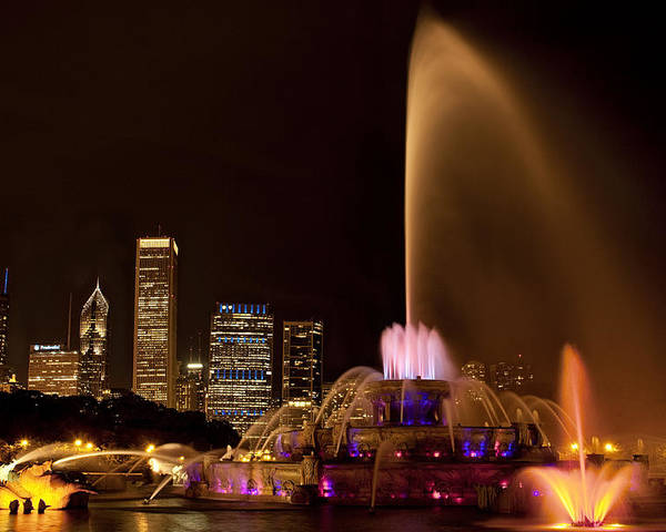 Chicago Poster featuring the photograph Chicago Fountain At Night by Andrew Soundarajan