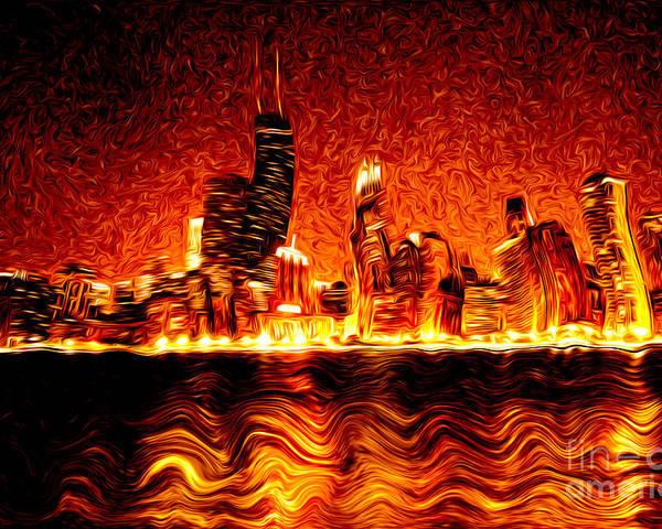 2012 Poster featuring the photograph Chicago Hell Digital Painting by Paul Velgos