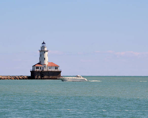 Chicago Poster featuring the photograph Chicago Light House With Boat In Lake Michigan by Christine Till