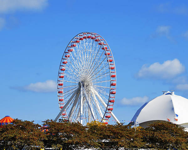 Ferris Poster featuring the photograph Chicago Navy Pier Ferris Wheel by Christine Till