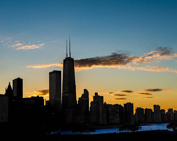 Chicago Poster featuring the photograph Chicago Skyline Silhouette by Steve Gadomski
