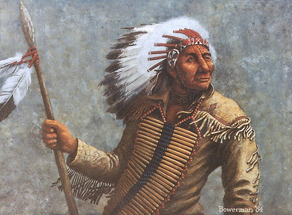 Native American Poster featuring the painting Chief Knife by Lee Bowerman