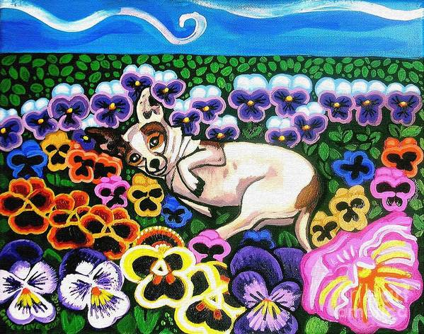 Dog Portrait Poster featuring the painting Chihuahua In Flowers by Genevieve Esson