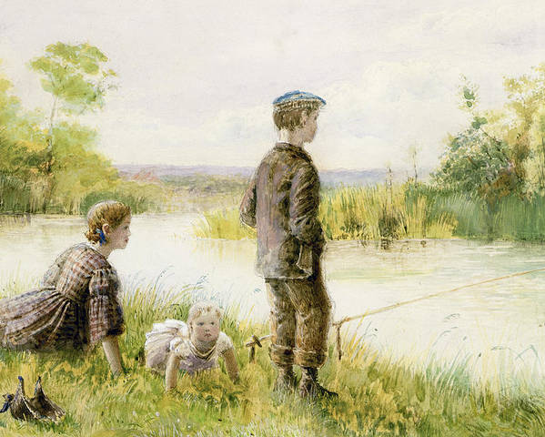 Edwardian Poster featuring the painting Children Fishing By A Stream by George Goodwin Kilburne
