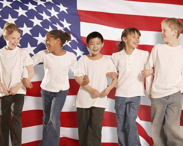 Future Poster featuring the photograph Children In Front Of American Flag by Don Hammond