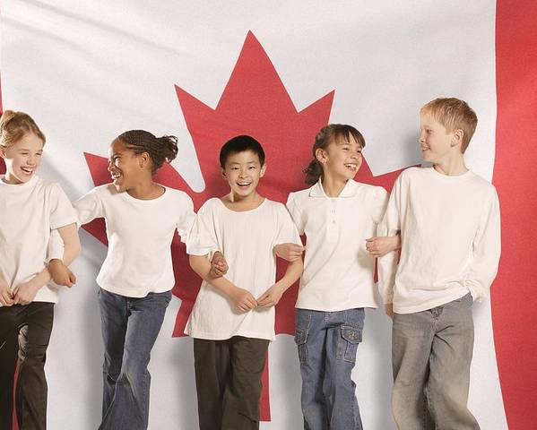 Future Poster featuring the photograph Children In Front Of Canadian Flag by Don Hammond