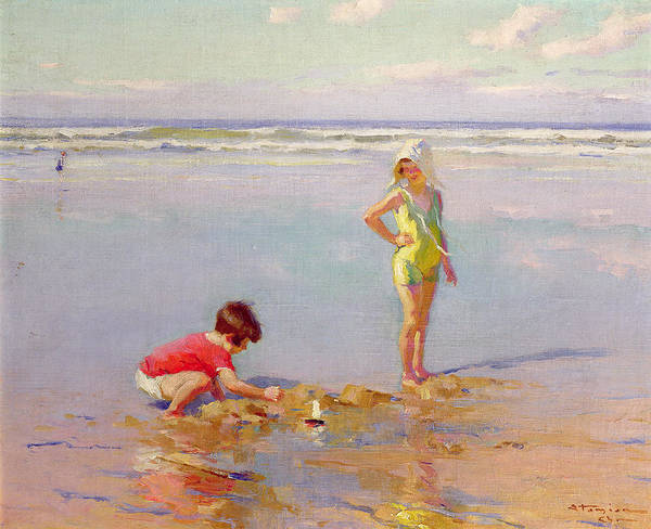 Playing Poster featuring the painting Children On The Beach by Charles-Garabed Atamian