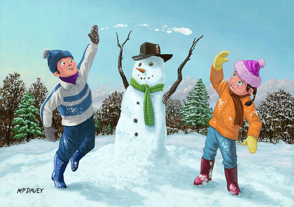 Children Poster featuring the painting Children Playing In Snow by Martin Davey
