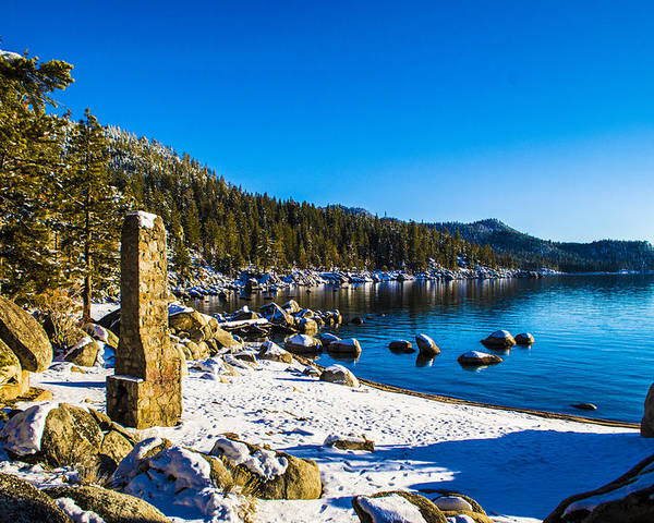 Chimney Beach Poster featuring the photograph Chimney Beach - Lake Tahoe by Brandon McClintock