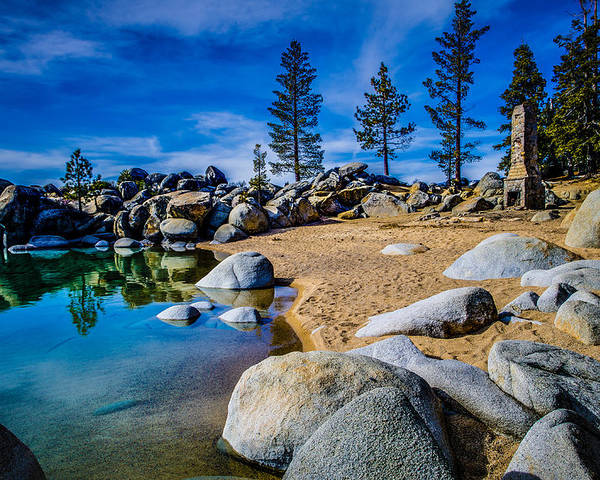 Chimney Beach Poster featuring the photograph Chimney Beach Lake Tahoe by Scott McGuire