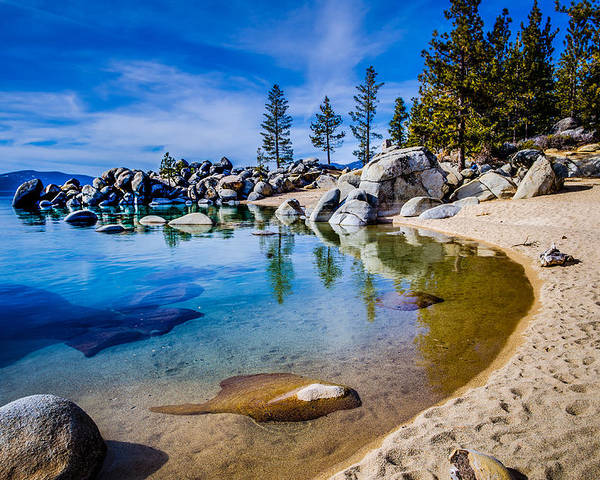 Chimney Beach Poster featuring the photograph Chimney Beach Lake Tahoe Shoreline by Scott McGuire