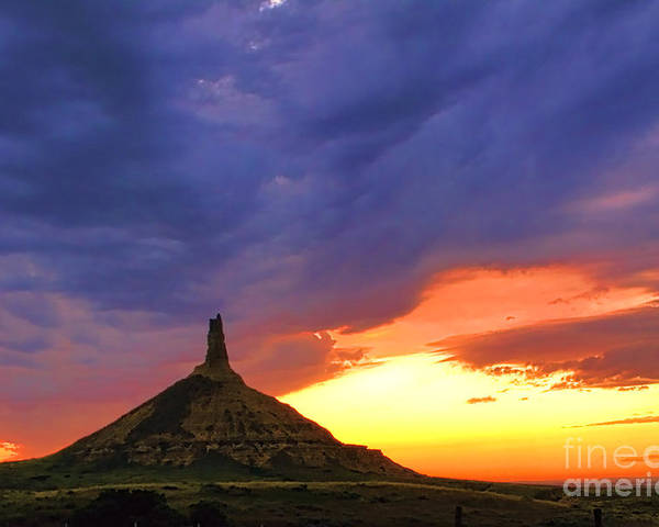Chimney Rock Poster featuring the photograph Chimney Rock Nebraska by Olivier Le Queinec