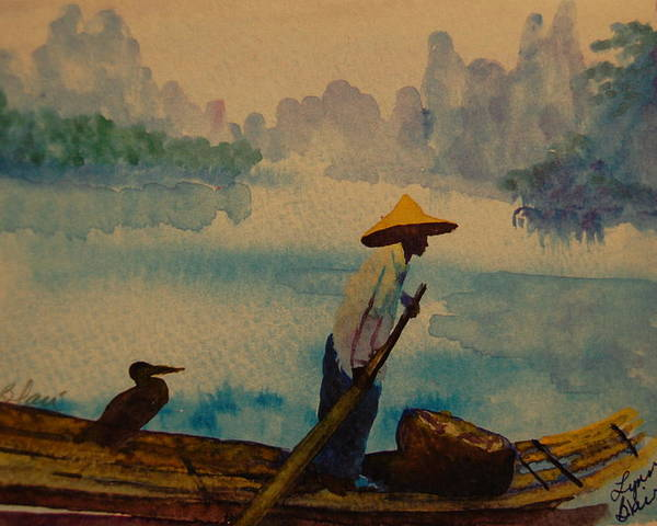 Fisherman Commarant China Boats Fishing Wildlife Poster featuring the painting Chinese Fisherman With Commarant by Lynn Beazley Blair