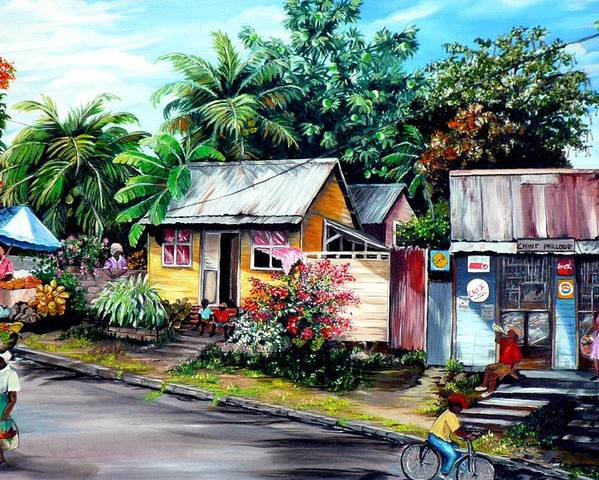 Landscape Painting Caribbean Painting Shop Trinidad Tobago Poinciana Painting Market Caribbean Market Painting Tropical Painting Poster featuring the painting Chins Parlour   by Karin Dawn Kelshall- Best