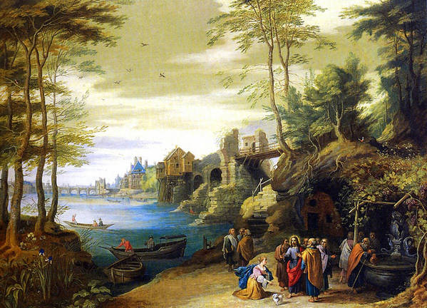 Jan Poster featuring the painting Christ And The Canaanite Woman by Jan Brueghel
