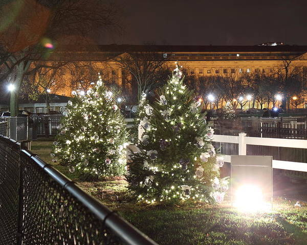 Washington Poster featuring the photograph Christmas At The Ellipse - Washington Dc - 01131 by DC Photographer