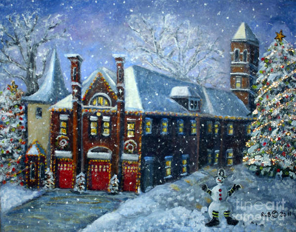 Waltham Poster featuring the painting Christmas At The Fire House by Rita Brown
