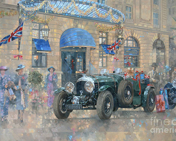 Rolls Royce Poster featuring the painting Christmas At The Ritz by Peter Miller