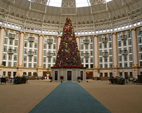 Holiday Poster featuring the photograph Christmas At West Baden by Sandy Keeton
