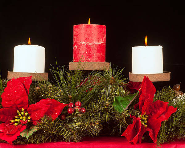 Christmas Poster featuring the photograph Christmas Candle Trio by Kenneth Sponsler
